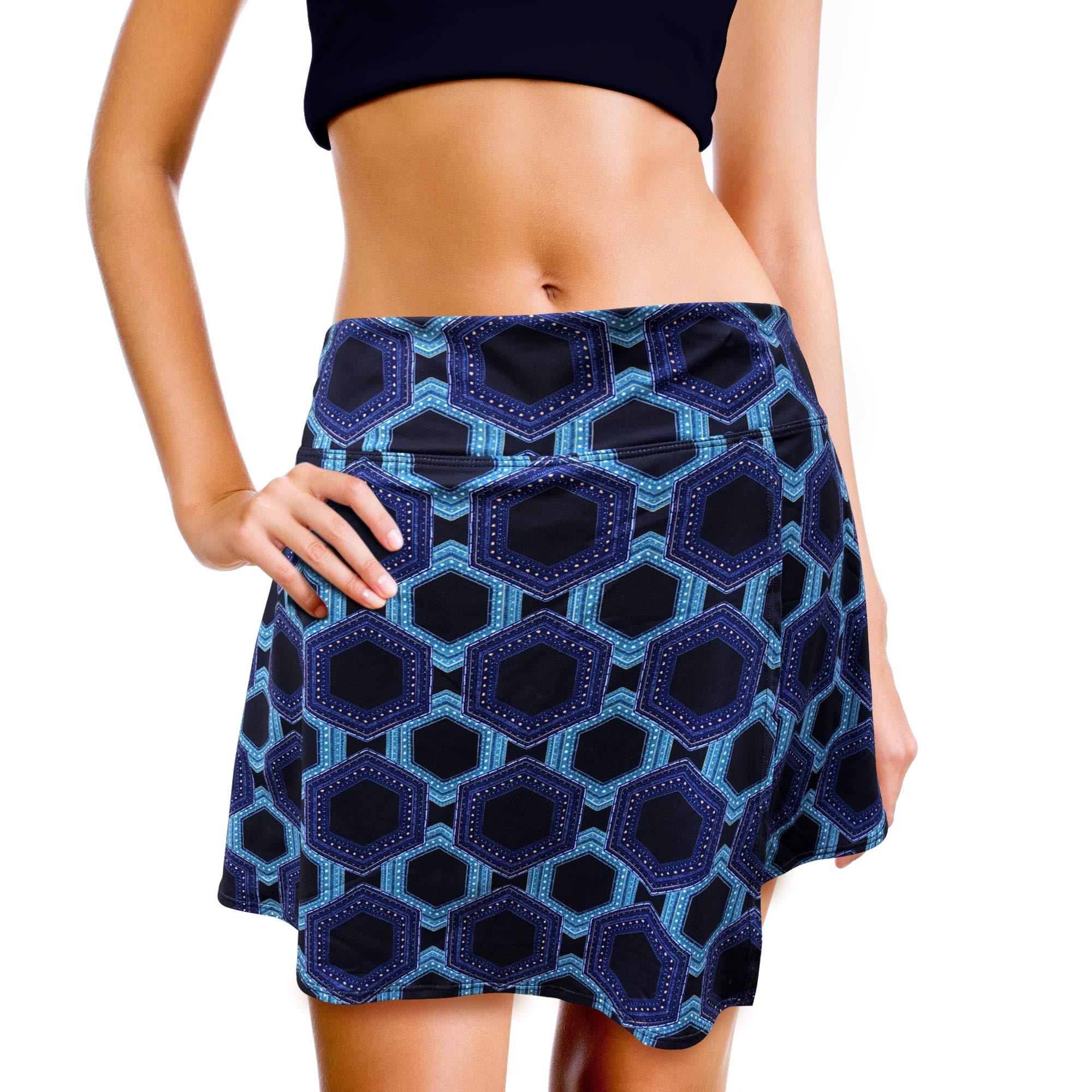 XrSzChic Womens Tennis Golf Skorts Skirt Athletic Exercise Printed Short Pockets by XrSzChic