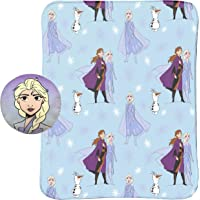 "Jay Franco Disney Frozen 2 40"" x 50"" Blanket, Kids Super Soft 2 Piece Nogginz Set Featuring Elsa, Anna, Olaf (Official DisneyProduct)"