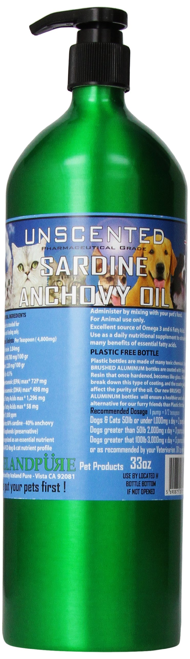 Iceland Pure Unscented Pharmaceutical Grade Sardine Anchovy Oil For Dogs and Cats.Bottle Size 33oz