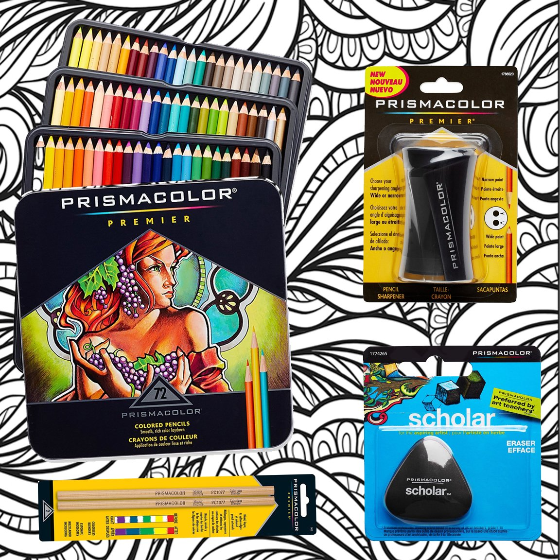 Prismacolor 72-Count Colored Pencils, Triangular Scholar Pencil Eraser, Premier Pencil Sharpener, Colorless Blender Pencils, and CSS Adult Coloring Book