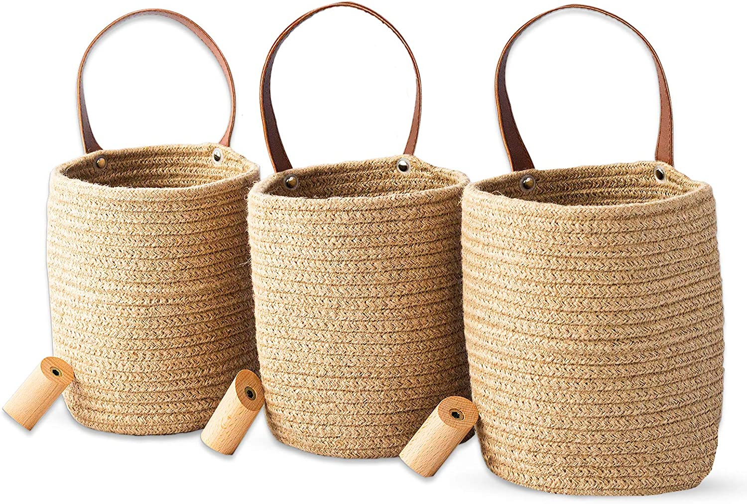 Woven Hanging Baskets and Wooden Hooks Set of 3 - Small Hanging Baskets for Wall décor Hanging Storage Baskets – Jute Woven Hanging Wall Baskets, Organizer