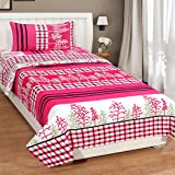 WI International 3D Flower Print Microfibre Single Bedsheet with 1 Pillow Cover (60x88 inch, Pink)