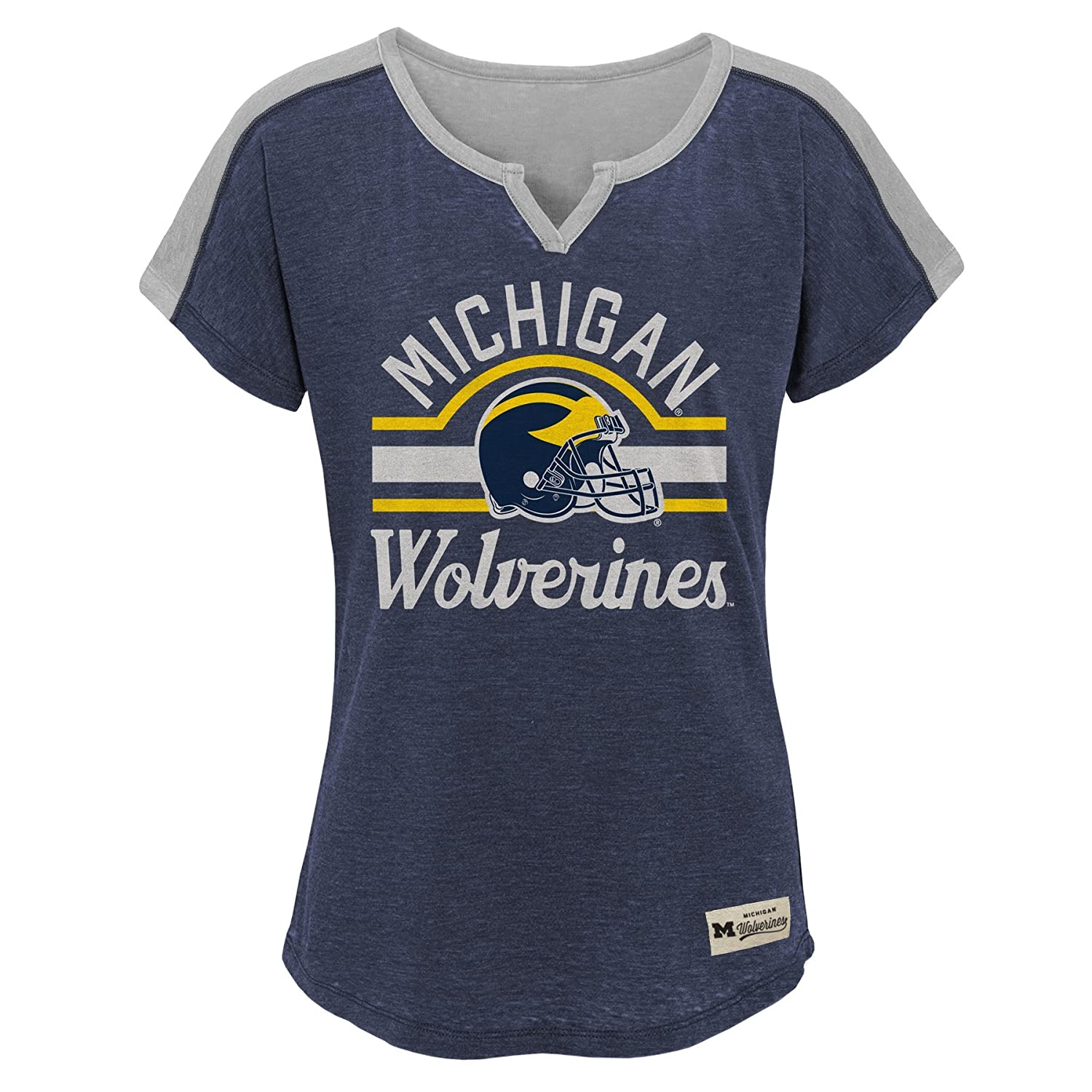 NCAA by Outerstuff NCAA Michigan Wolverines Youth Girls Tribute Raglan Football Tee 16 Dark Navy Youth X-Large