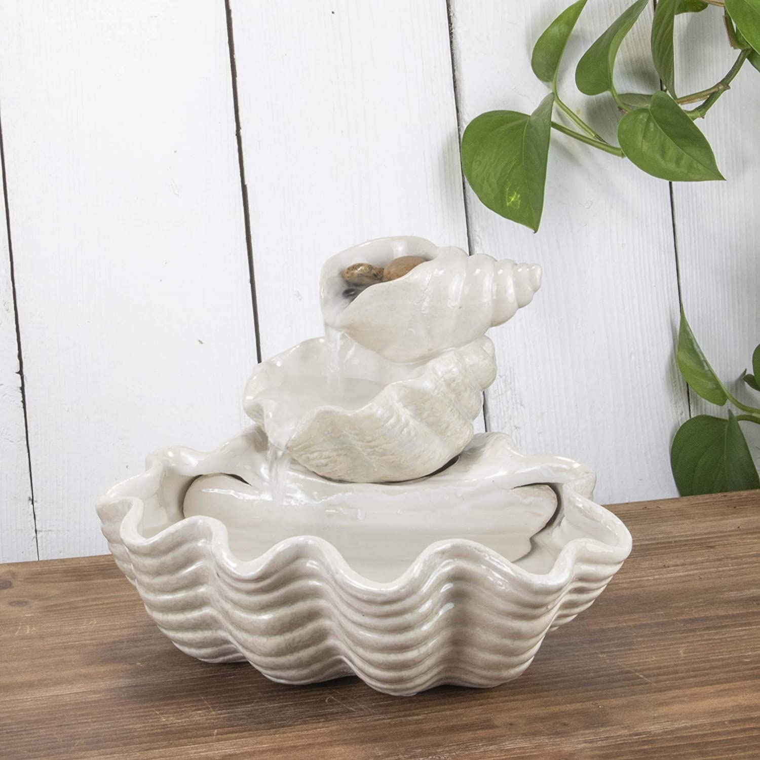 Foreside Home and Garden Tiered Shell Indoor Water Fountain with Pump, White