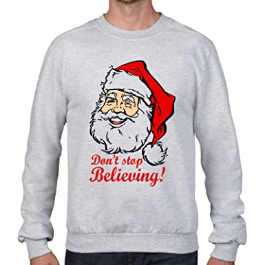 c6cf68b5 FunkyShirt Dont Stop Believing Santa Claus Sweater Christmas Jumper:  Amazon.co.uk: Clothing