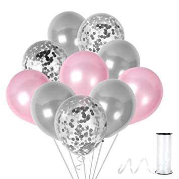Unicorn Baby Pink Silver Confetti Balloons Party Kit For Birthday Girl Shower Wedding Engagement Decorations