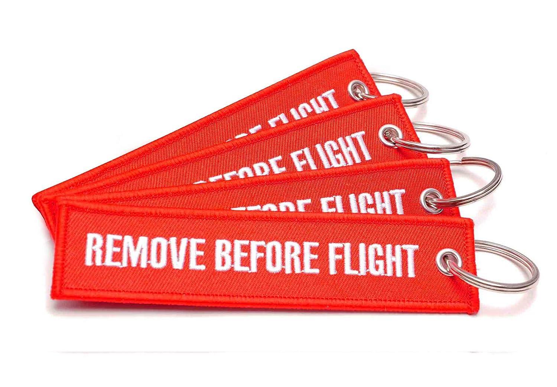 REMOVE BEFORE FLIGHT® Keychain–4PZ. Set in rosso–rbf della 401–Original EU marca Wingdesign