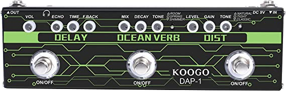 Koogo Guitar Multi-Effect Pedal Delay Ocean Verb Distortion 3-in-1 Series Analog Digital Mingle Effects Pedals for Electric Guitar