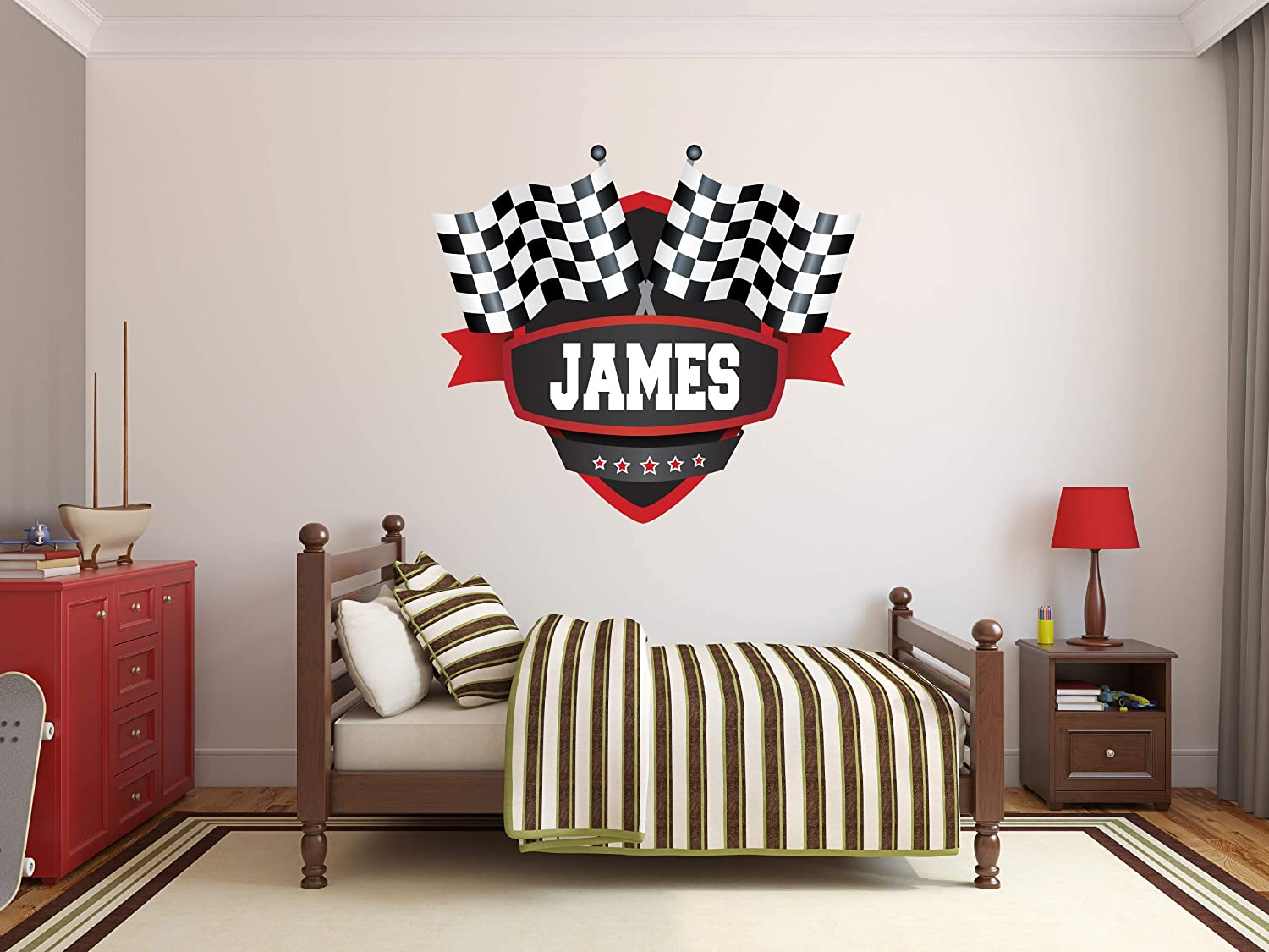 "Custom Name Racing Flags Wall Decal - Baby Room Decor - Nursery Wall Decals - Flags Wall Decor Mural Sticker (26"" x 22"")"