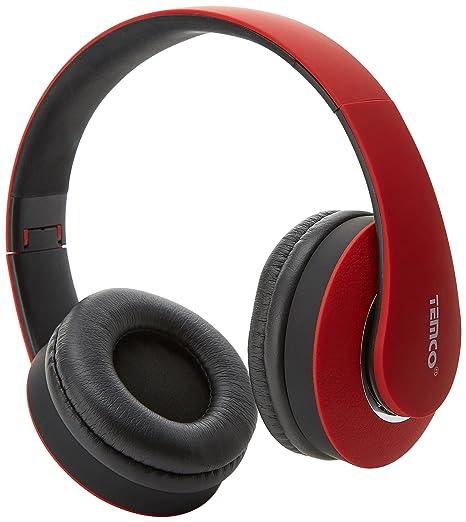 Temco TEM53-RJ - Cascos Inalámbricos, Color Rojo