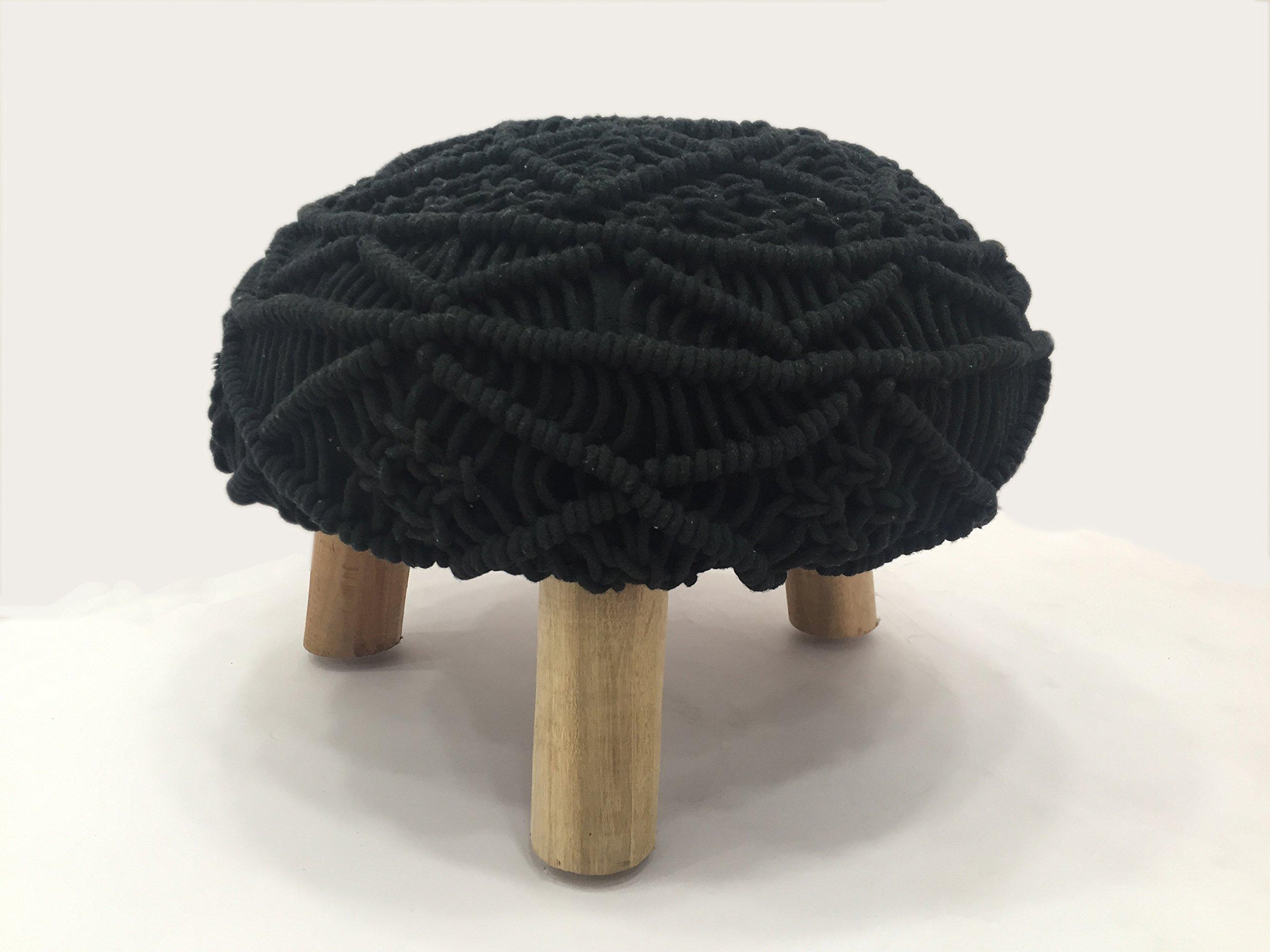 Madhu's COLLECTION Unique 3 legs Pouf Decorative, Large, black
