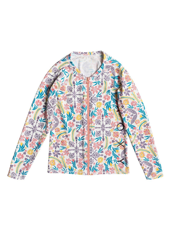 Roxy Girls Girl's 7-14 Girl's 8-16 Denim Babe Zip Front Long Sleeve Rashguard