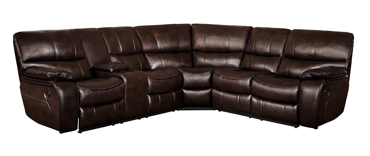 "Homelegance Pecos 105"" x 95"" Leather Gel Manual Reclining Sectional Sofa, Brown"