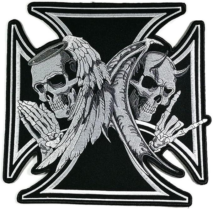 9,5 cm x 9,5 cm tamaño grande ángel y diablo Demon Lover Cruz ...