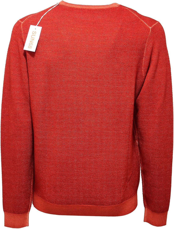 SUN 68 9191AB Maglione Uomo Red Rust Garment Dyed Wool Sweater Men Ruggine