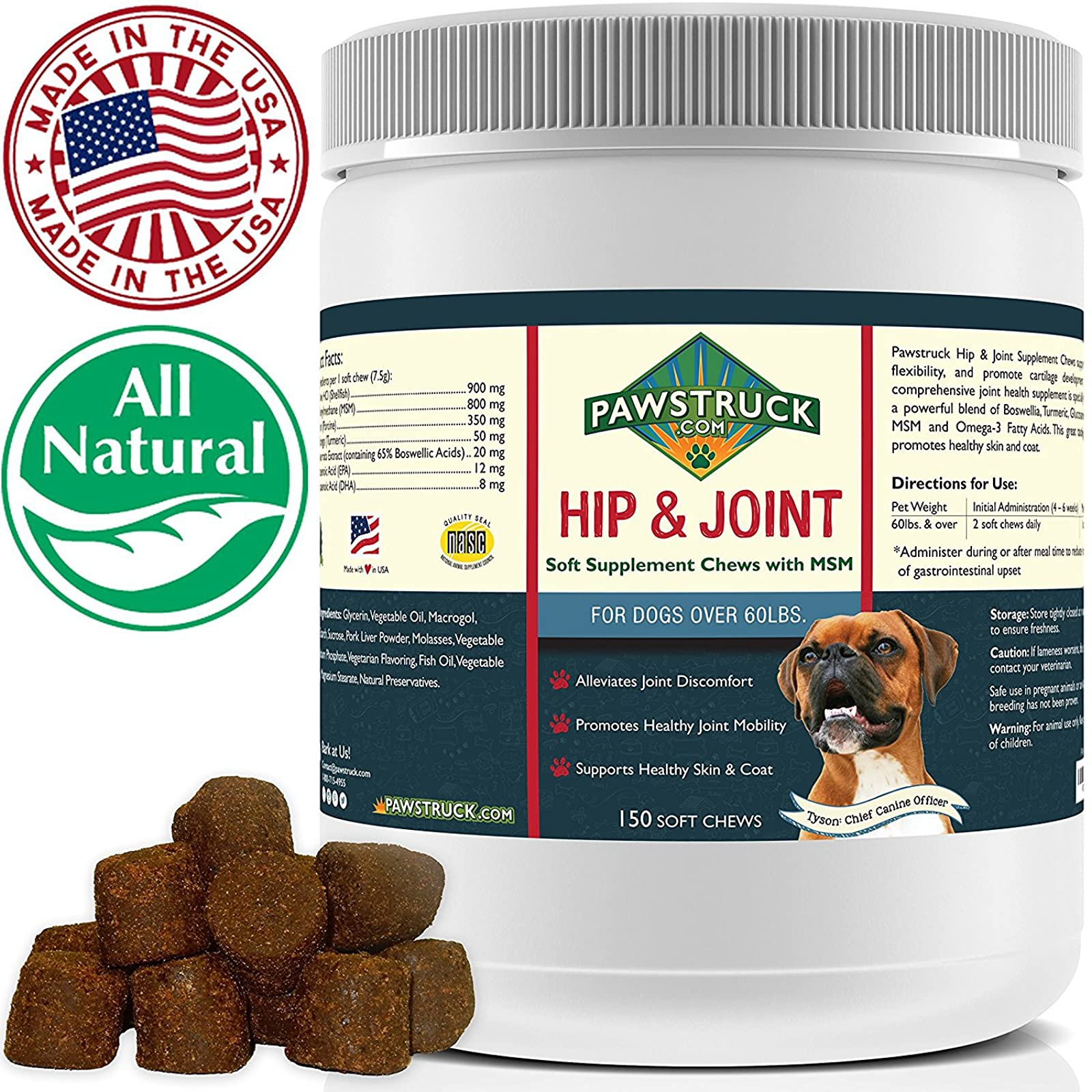 Natural Hip and Joint SupplementDogs in Bulk - - 8