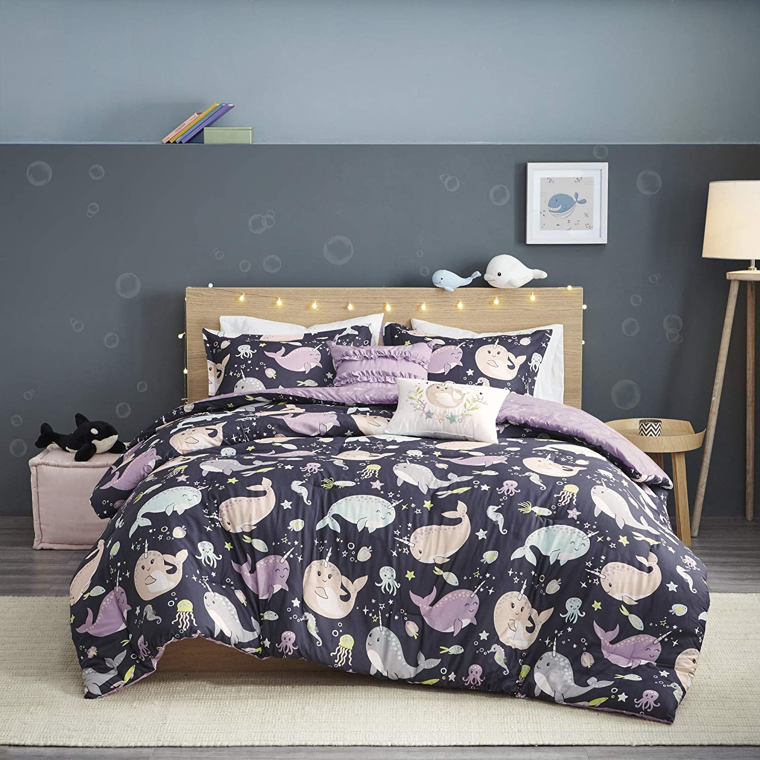 "Urban Habitat Kids Magical Narwhals Reversible 100% Cotton Comforter, Novel Animal Print Modern All Season Down Alternative Bed Set for Kids, Decorative Pillows, Twin(68""x88""), Purple Multi 4 Piece"
