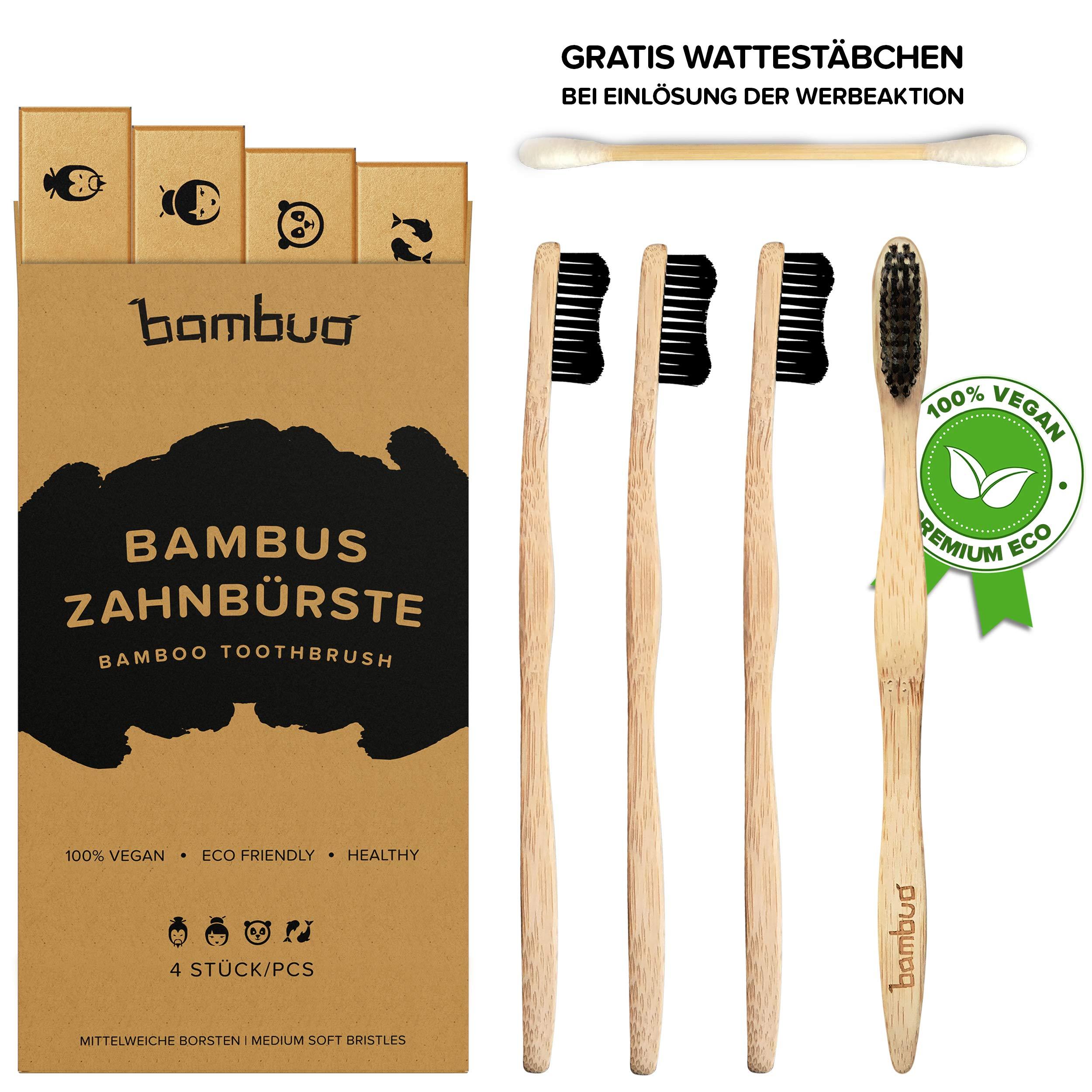 Juego de 4 Bambú Cepillo de dientes · Madera Cepillos de Dientes de bambú · 100