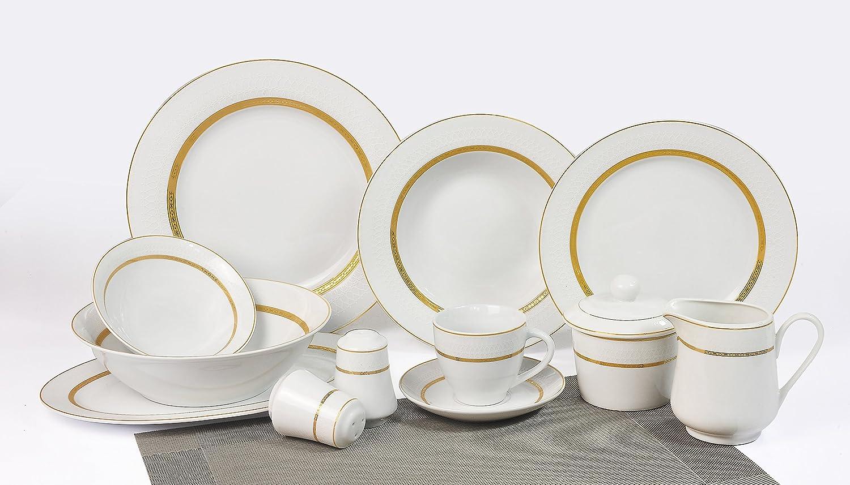 Vajilla de porcelana Victoria de 43 piezas con filo de orohttps://amzn.to/2zb4A74