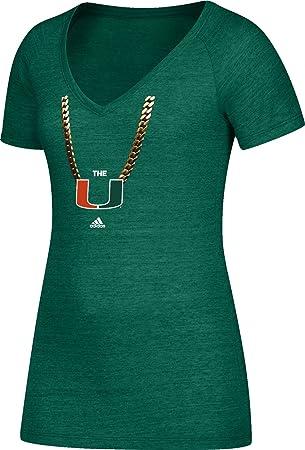 Adidas Miami Hurricanes - Camiseta de fútbol para Mujer, diseño de Cadena de Turno,