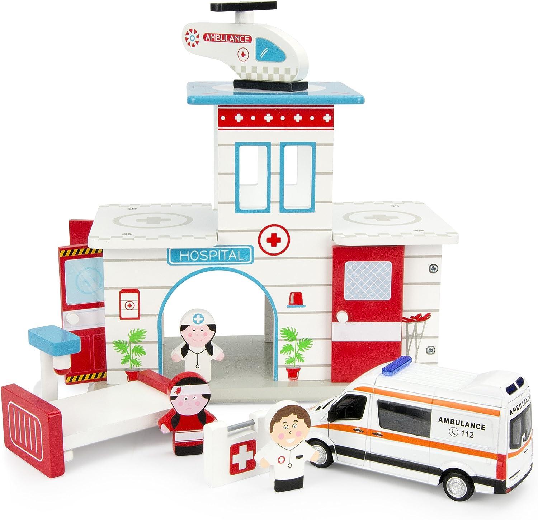 Leomark Hospital De Madera Ambulancia Mercedes Hospital De Emergencia Seguridad Paciente Médico Mini Hospital Playset Juego de Juguetes Diversion En La Clinica Servicio De Ambulancia