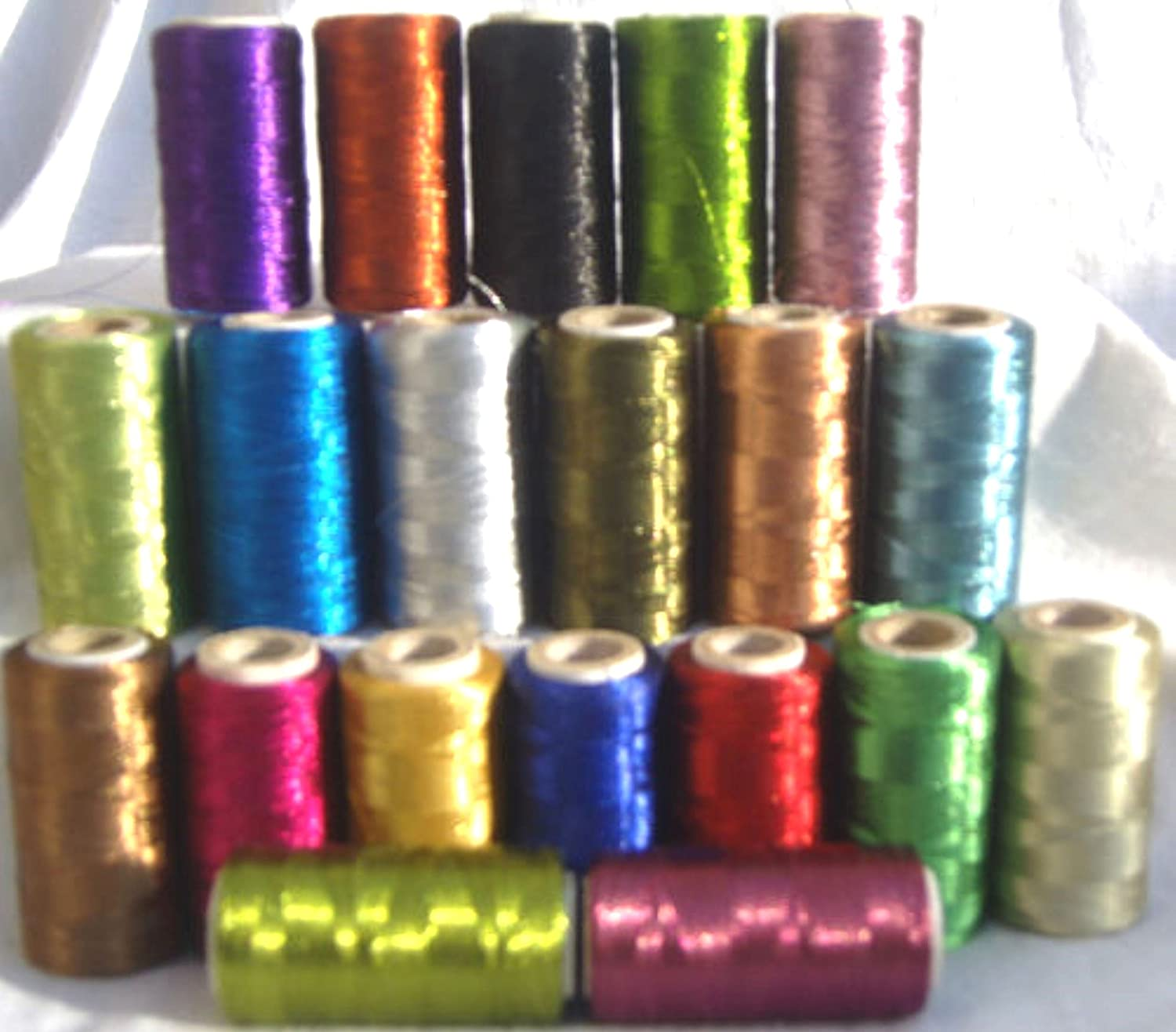 20 Metallic Embroidery Machine Thread Spools, 20 different colour 400 YARDS EACH, High Quality GCS