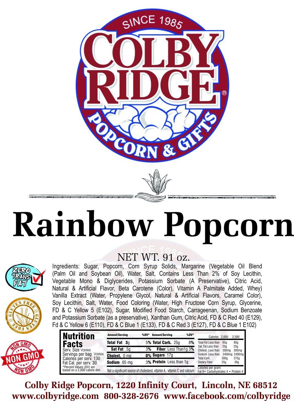 Rainbow Popped Popcorn 91 oz. (Bulk 5 Gal. 80 Cups) by Colby Ridge (Image #2)