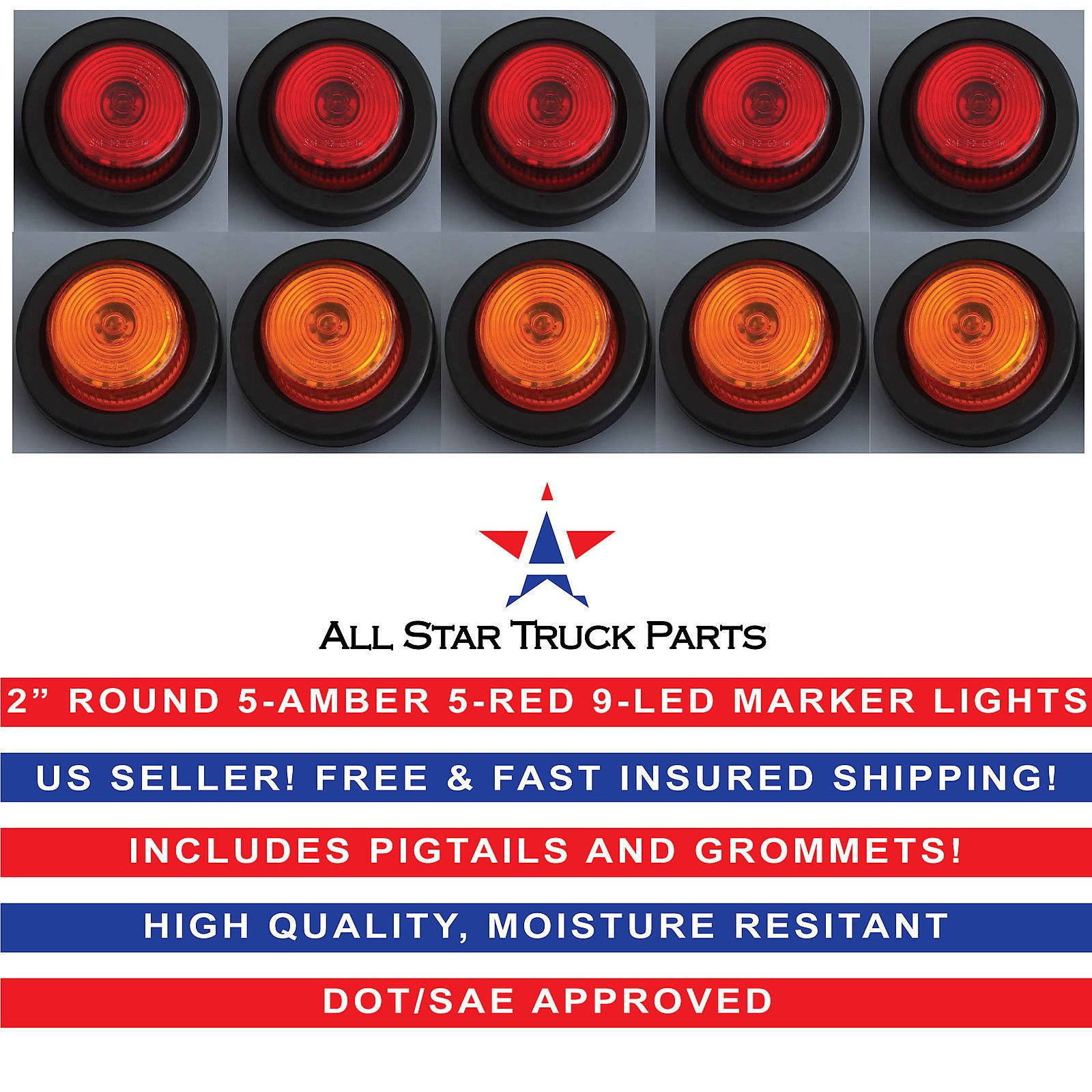 2'' Round 9 LED Light Trailer Side Marker Clearance Grommet&Plug - 5 Amber+ 5 Red