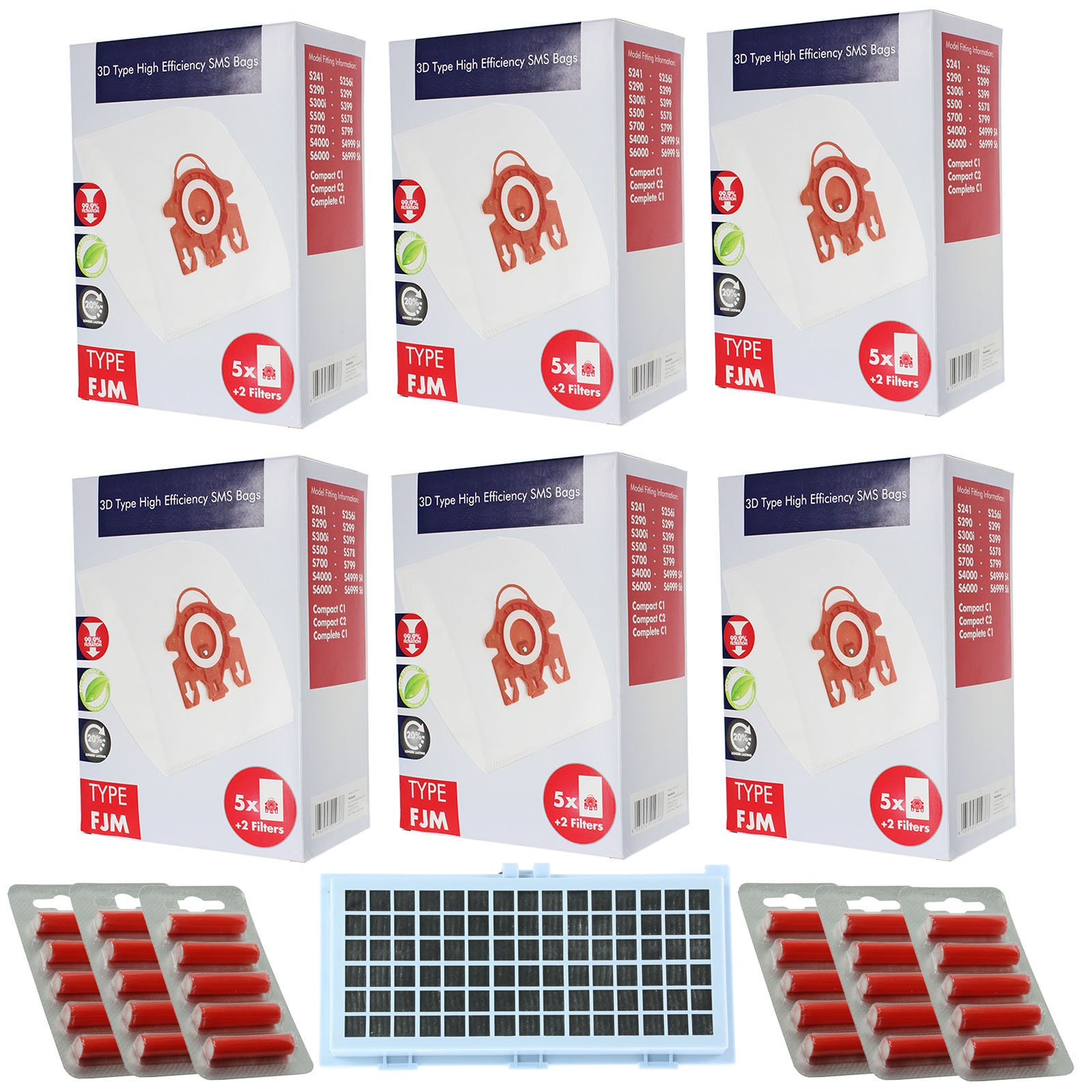 Spares2go 3D FJM Type Hyclean Bags+For Miele TT1800 TT2000 Vacuum Cleaner 30 Bags+Active HEPA Filter+Micro+Fresheners