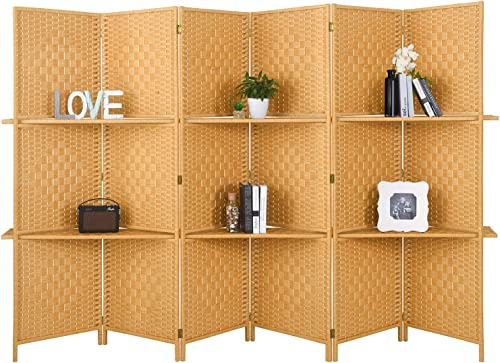 RHF 6 ft.Tall-Extra Wide Diamond Weave Fiber 6 Panels Room Divider,6 Panel Folding Screen Privacy, Partition Wall, Room Dividers with 2 Display Shelves,Light Beige-6 Panel, 2 Shelves