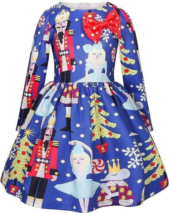 Disfraz Navidad Vestido Niñas de Fiesta Vestido Princesa Manga ...