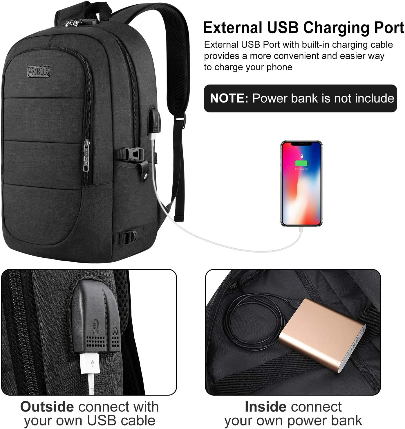 Oxford Backpack Male Outdoor Computer Backpack USB Charging Anti-Theft Travel Backpack Size: 301245CM BAG Laptop Backpack