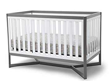 Modern Crib Nursery Two Tone Grey White Sleek