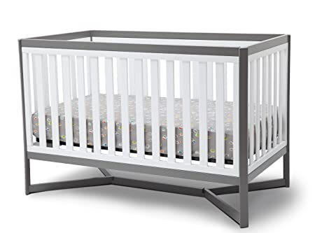 Delta Children Tribeca 4-in-1 Baby Convertible Crib, White Grey