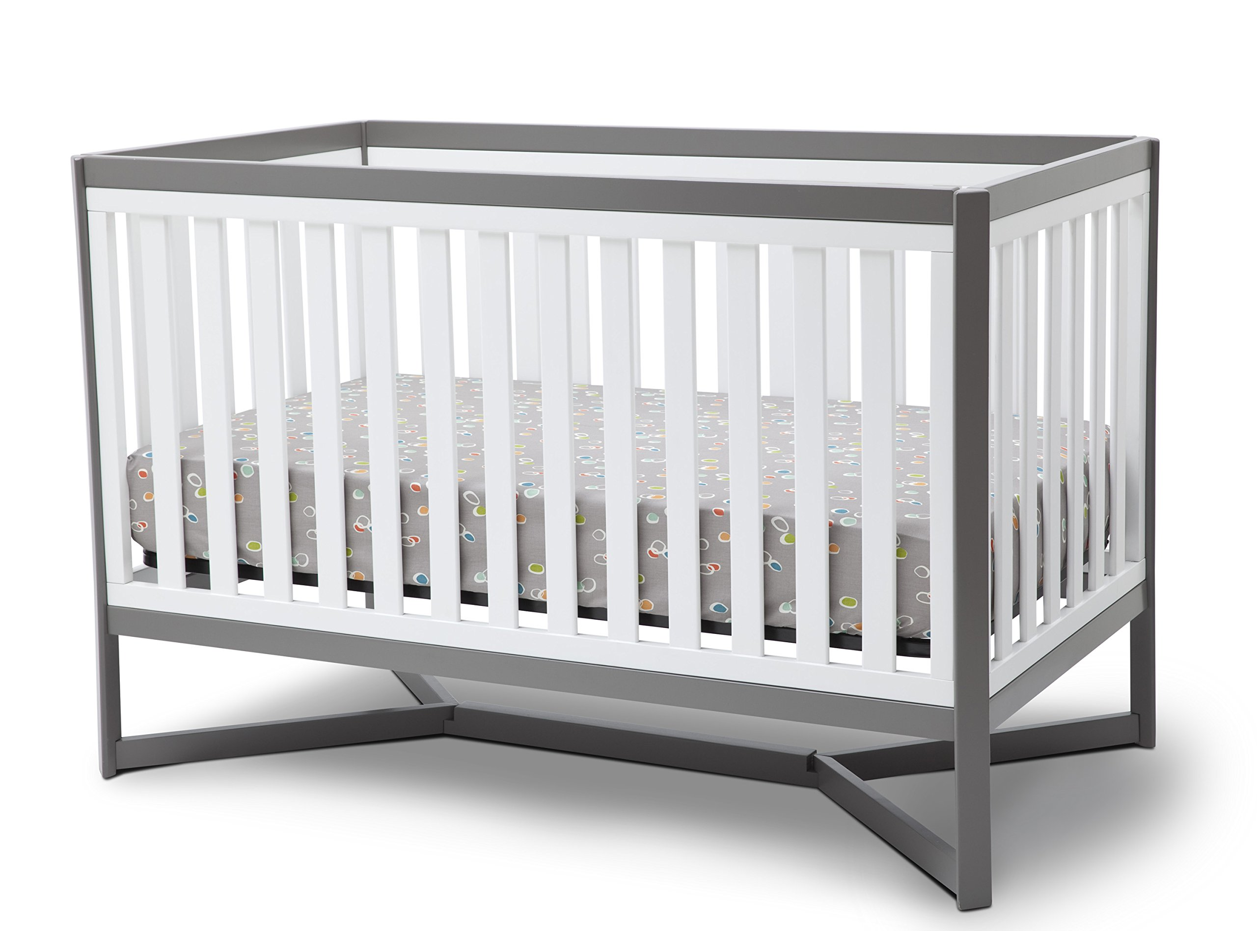 Delta Children Tribeca 4-in-1 Convertible Crib, White/Grey