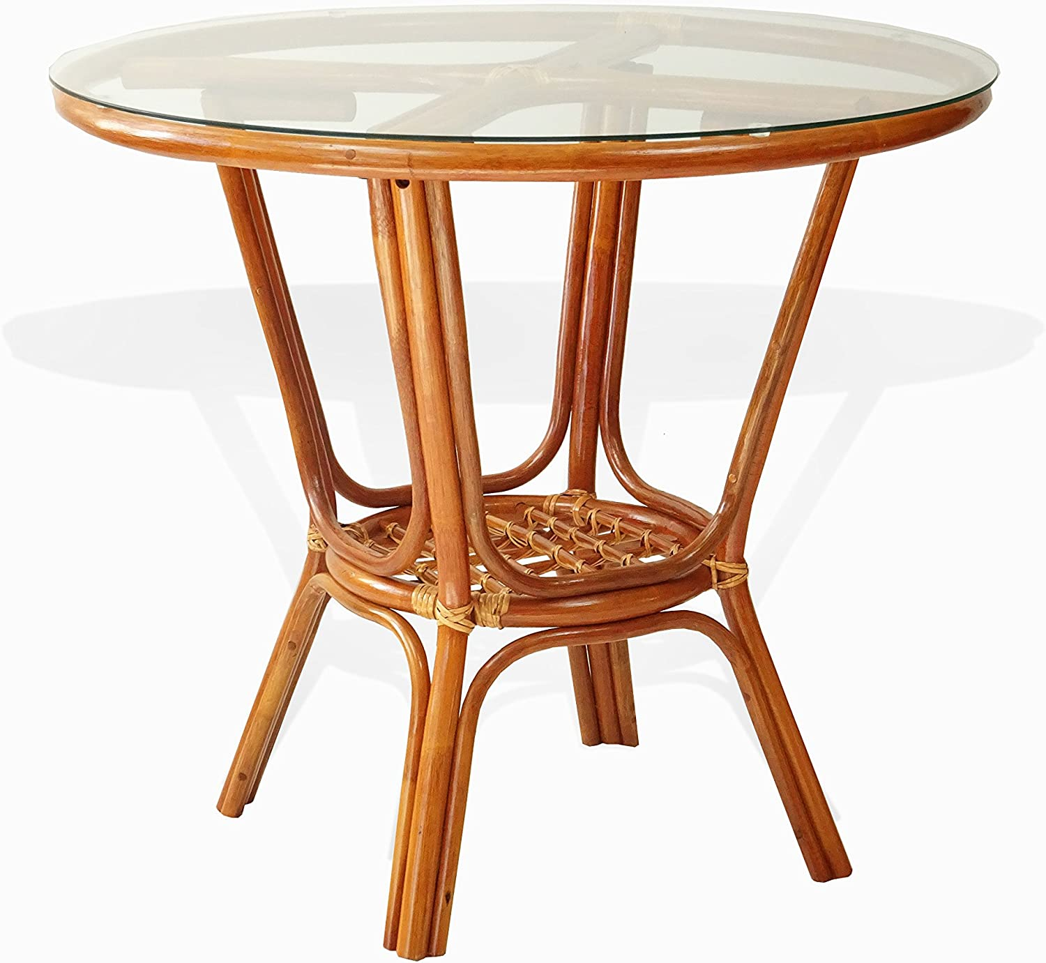 Pelangi Rattan Wicker Round Dining Table with Glass Top, Colonial