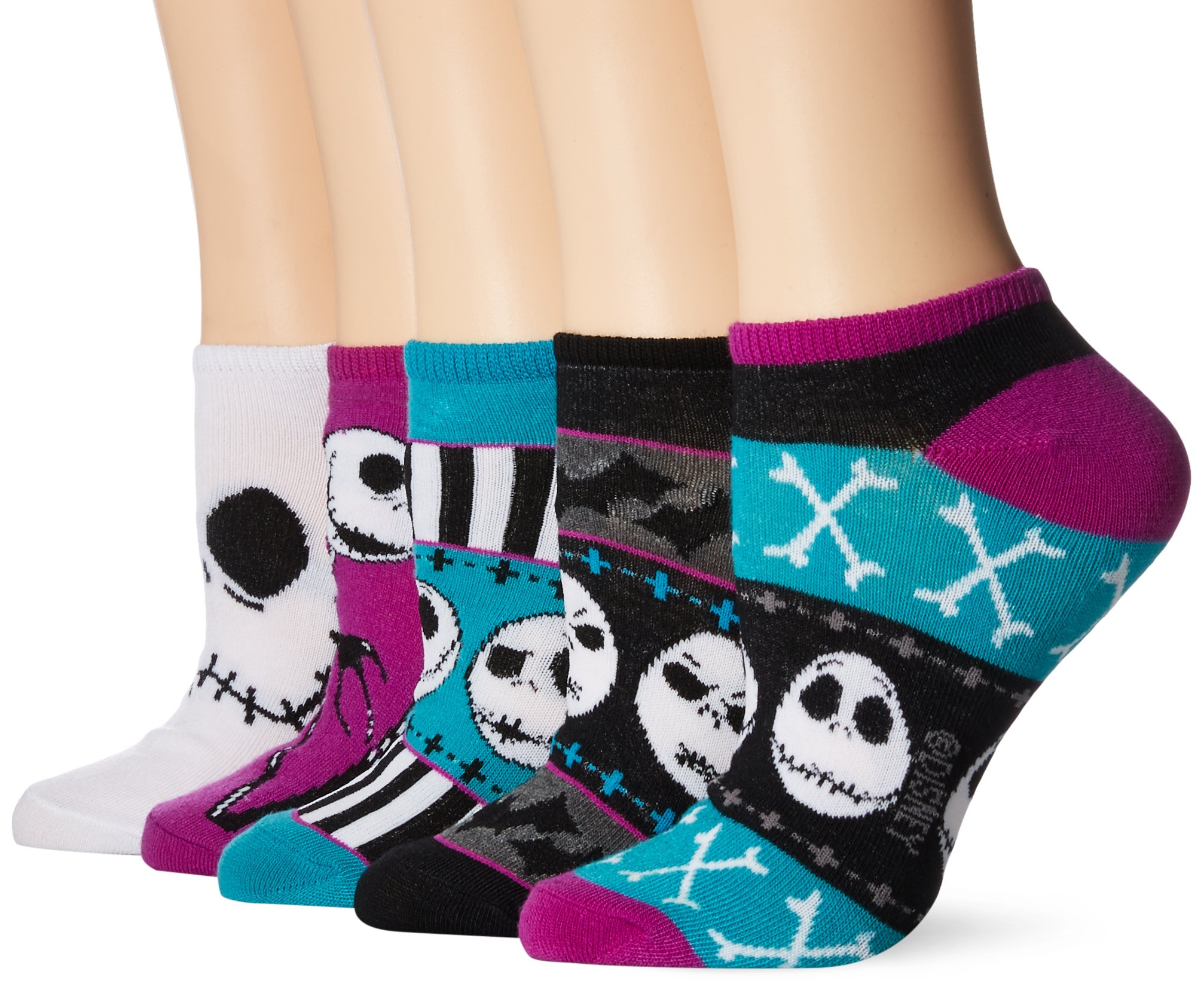 Disney Women's Nightmare Before Christmas 5 Pack No Show, Assorted Purple, fits Sock Size 9-11 fits Shoe Size 4-10.5