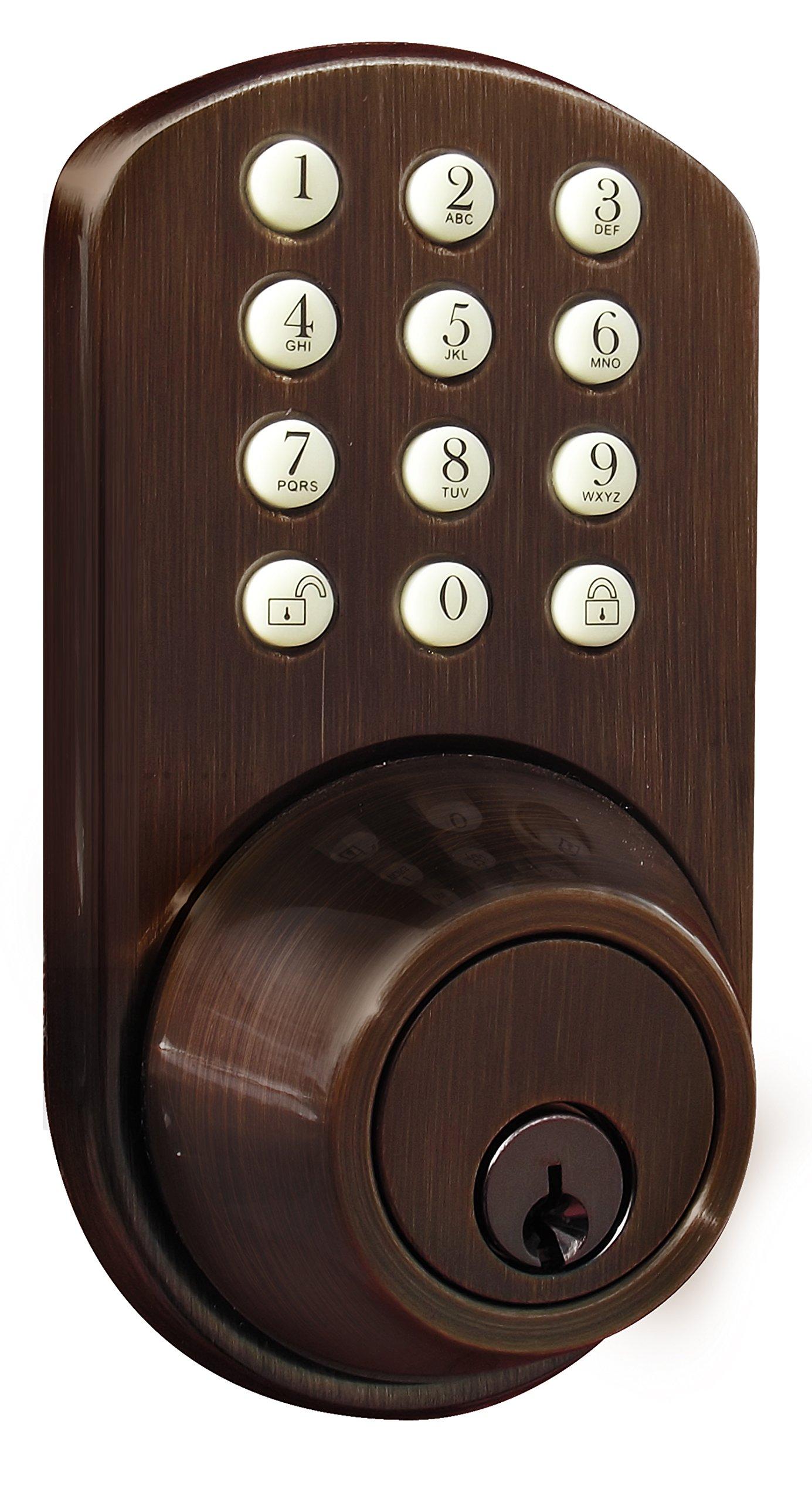 MiLocks TF-02OB Digital Deadbolt Door Lock with Electronic Keypad for Exterior Doors, Oil Rubbed Bronze