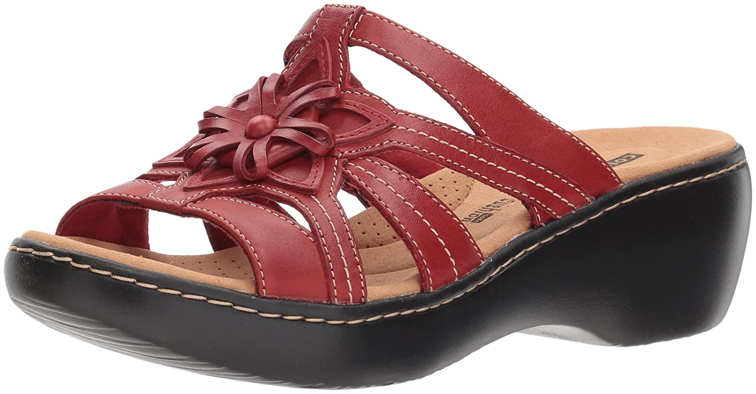 Red leather Clarks Womens Delana Venna Platform & Wedge Sandals