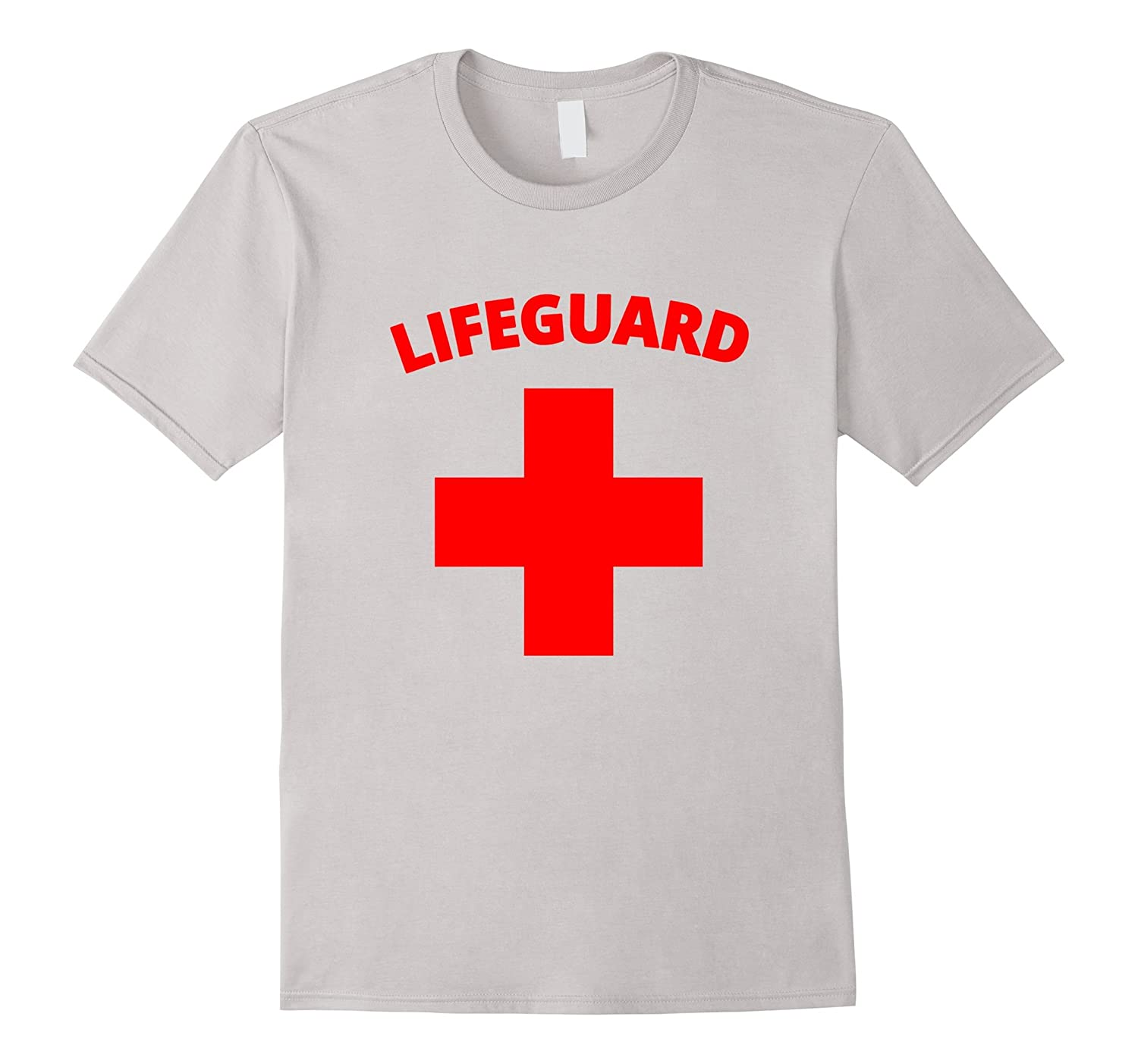 Official Lifeguard T Shirt Front Back Double Sided Red White-PL