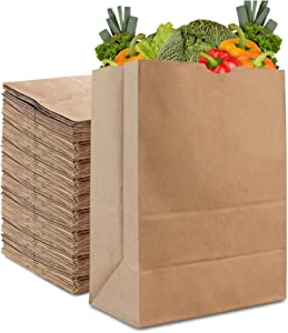 Stock Your Home 57 Lb Kraft Brown Paper Bags (70 Pack) - Recyclable Lawn Paper Bags Bulk - Eco Friendly Large Paper Bags for Grocery Shopping, Supermarkets, Delis, Takeout, Delivery