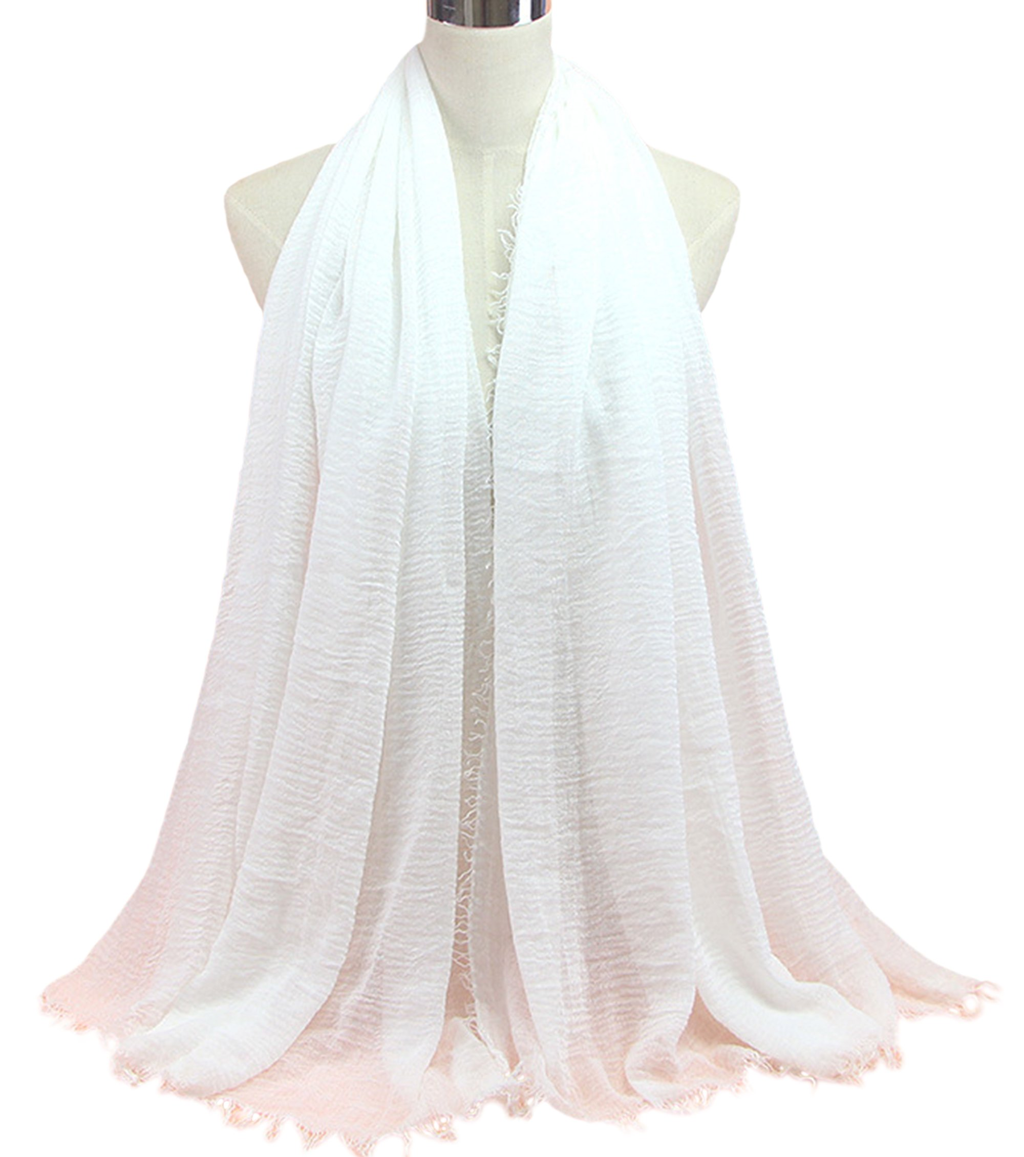 Astage Crinkled Cotton Wrap Shawl Scarf Light Muslim Raw Fringe Scarves 2pcsWhite