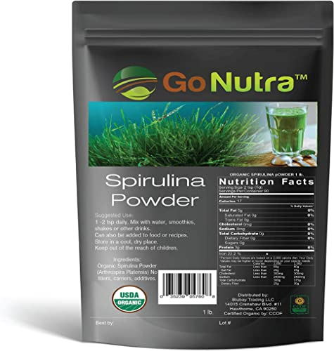 Spirulina Powder Organic 1 lb – 16 oz Pure Non GMO Superfoods for Antioxidant, Minerals, Fatty Acids, Fiber Protein Vegan Friendly USDA Certified