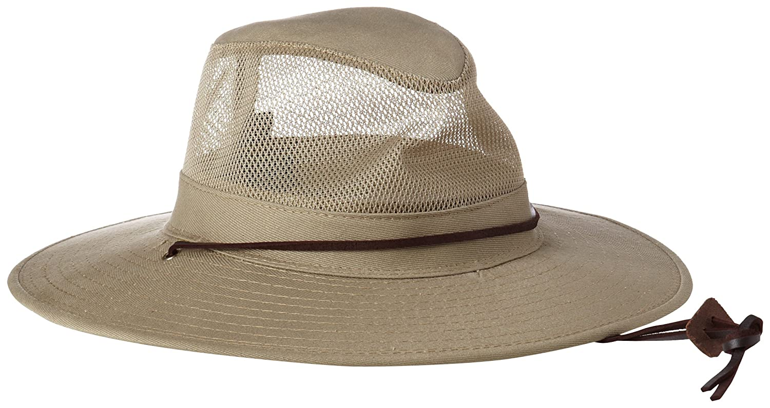Dorfman Pacific Men's Brushed Twill-and-Mesh Safari Hat with Genuine Leather Trim Dorfman Pacific Co. Inc 864M