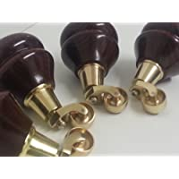 4x MAHOGANY FURNITURE LEGS WOODEN REPLACEMENT FEET WITH BRASS CASTORS 140mm HEIGHT FOR SETTEE CHAIRS, SOFAS, M8(8mm)