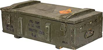 Juego de 2 Histórica Grandes munición Caja – Originales Antiguos usadas Madera baúl munición Caja de Transporte Tinta nkast Asiento Banco Ropa Sucia De Mesa con 80 x 38 x 17 cm: