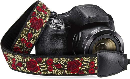 حزام كتف بطراز عتيق من Wolven بشريط للكتف ورقبة الكاميرا متوافق مع جميع DSLR/SLR/كاميرا رقمية (DC)/كاميرا فورية/بولارويد وما إلى ذلك، أحمر