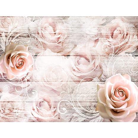 Fototapete Vintage Blumen Rosen 352 x 250 cm - Vlies Wand Tapete Wohnzimmer  Schlafzimmer Büro Flur Dekoration Wandbilder XXL Moderne Wanddeko - 100% ...