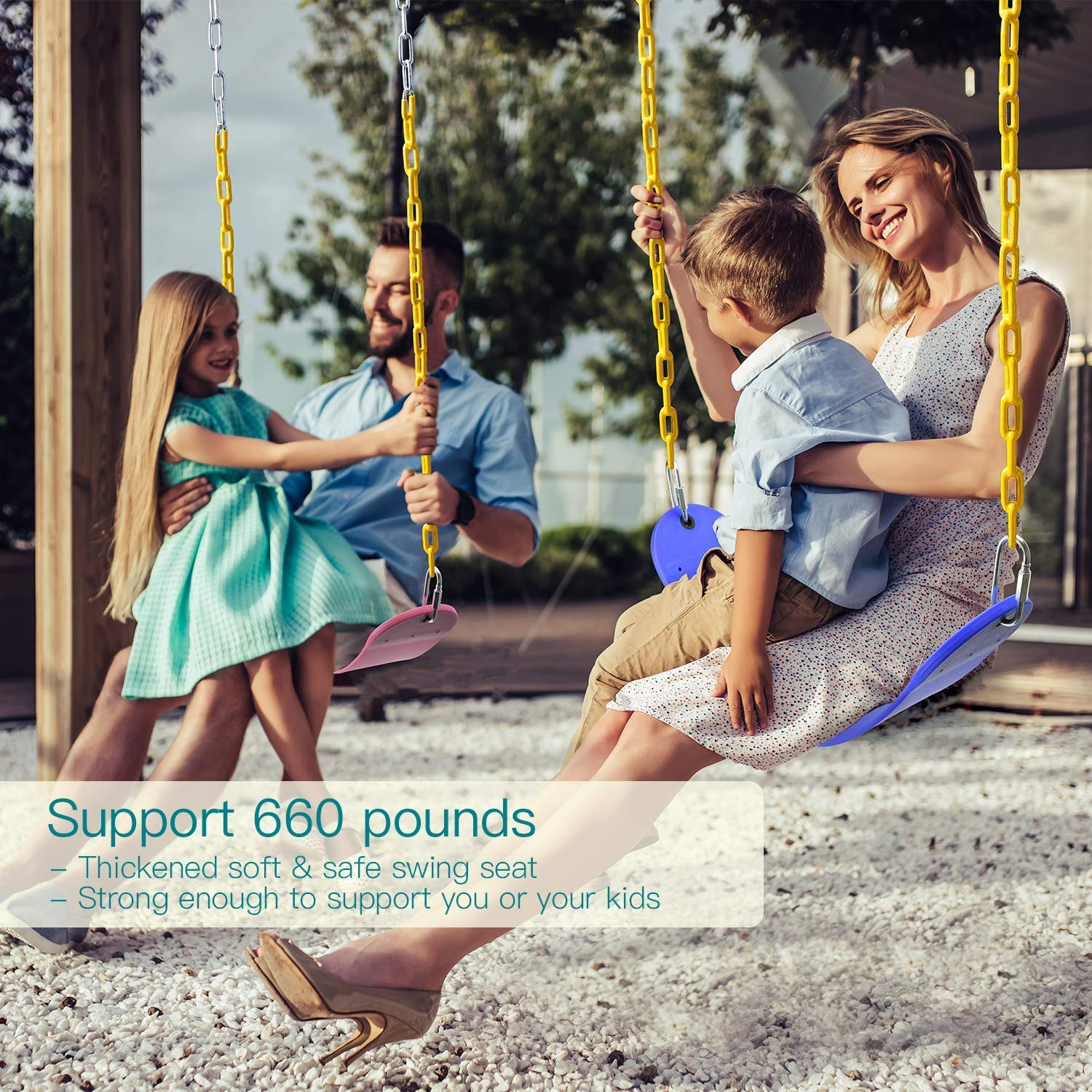 PACEARTH Swing Seat Support 660lb with 68.9 inch Anti-Rust Chains Plastic Coated 23.6 inch Tree Hanging Straps and Locking Buckles Outdoor Playground Tree Swing Pink
