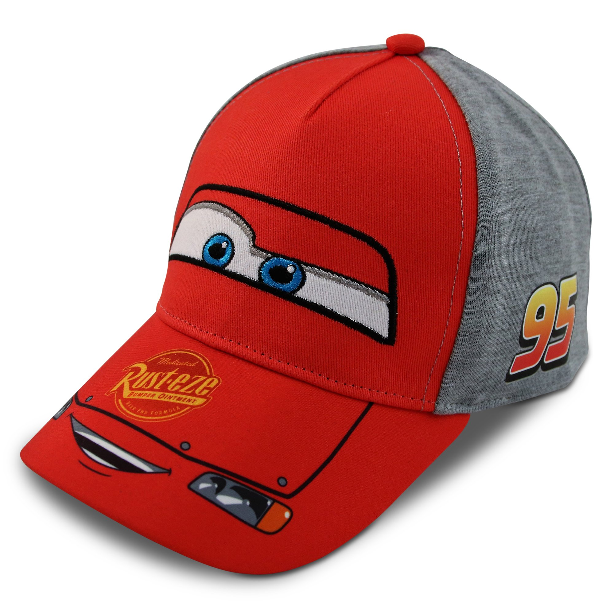 Disney Little Boys Cars Lightning McQueen Character Cotton Baseball Cap, Red/Grey, Age 2-7 (Toddler Boys - Age 2-4 - 51CM)